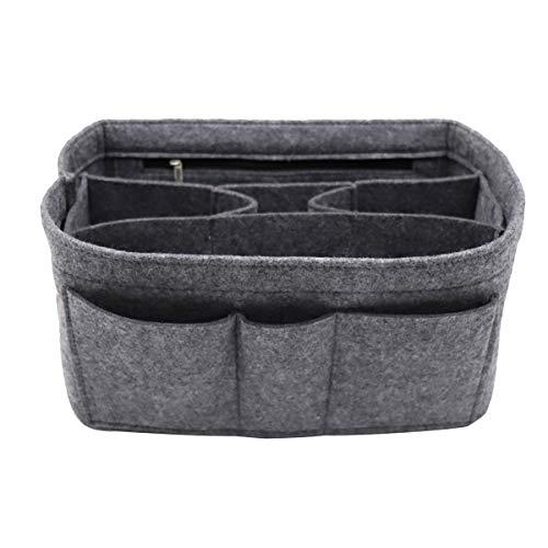 Felt Insert Fabric Purse Organizer Bag, Bag Insert In Bag with Zipper Inner Pocket Fits Neverfull Speedy 8010 Grey XL