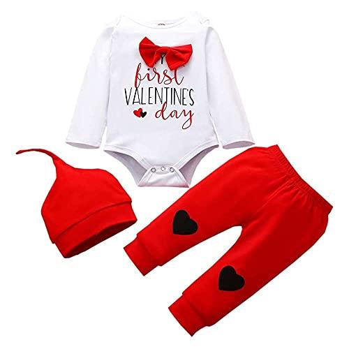 nanxing Mono de manga larga para niños recién nacidos, para el día de San Valentín, con estampado de corazón, pantalones a cuadros y sombrero