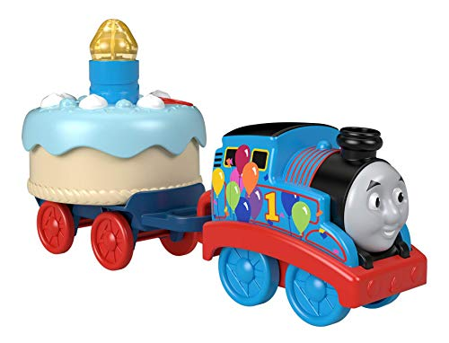 Thomas & Friends Birthday Wish Thomas, Musical Push-Along Toy Train Engine with Light-up Birthday Cake for Toddlers and Preschoolers Ages 12 Months & Older