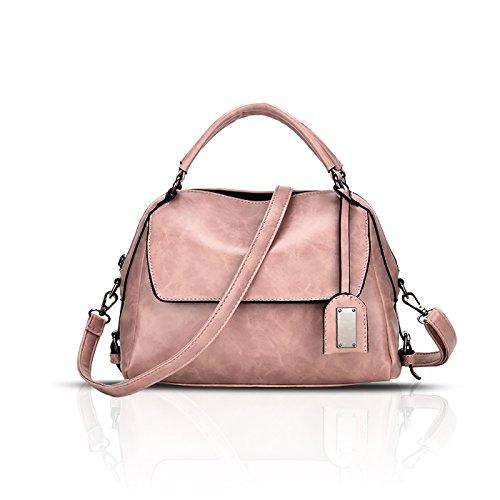 Tisdaini® Damenhandtaschen Mode Schultertaschen PU Leder Shopper Umhängetaschen Rosa