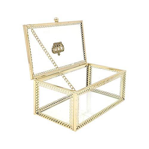 Caja de Anillo geométrica nórdica Cristal Transparente habitación de Flores Caja de Anillo de Boda de Cristal Caja de joyería Decoraciones Creativas para el hogar