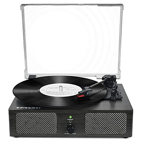 Tocadiscos de Vinilo Bluetooth con Altavoces internos y Cinturones USB accionados por un gramófono Retro-3 velocidades de Entretenimiento y decoración Familiar (Negro)