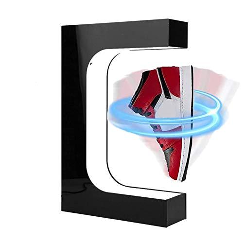 MXGP Schuhe rotierender Displayständer Magnetschwebende Schuhe Stehen mit LED-Licht Schwebender Sneaker-Displayständer Kreative Dekoration Sneaker Geschenke,Schwarz
