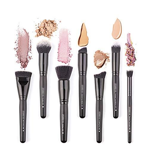 Pinceaux De Maquillage 7 Pcs Pinceau De Maquillage Set, Outils De Maquillage Brosse Set Maquillage Cheveux Nylon Poignée En Bois: Pinceau Poudre, Contour Angled, Kabuki, Fard À Paupières Blending,Noir