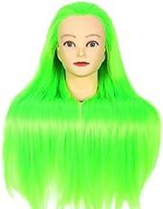 tellaLuna Cabeza de muñecas para peluquerías 65 cm pelo sintético maniquí cabeza mujer maniquí peluquería entrenamiento cabeza azul