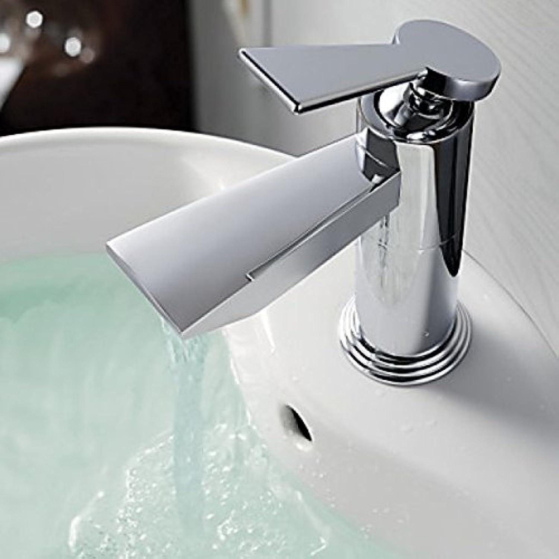 Robinet salle de bain finition chromé, robinet à poignée unique style contemporain