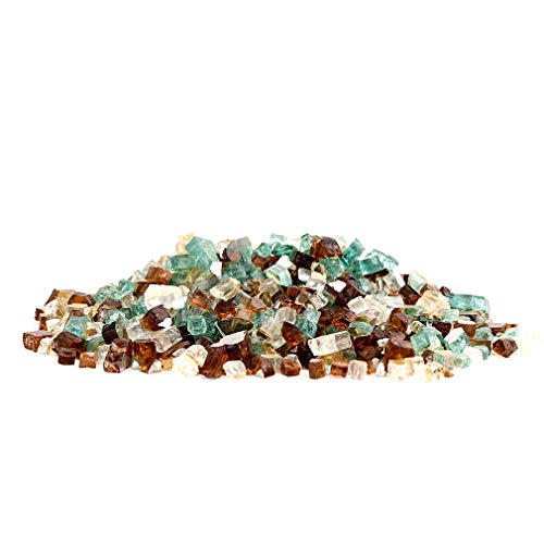 Stanbroil 10-Pound 1/2 Fire Glass Blended Gold,Light Green,Copper Reflective for Indoor and Outdoor Gas Fire Pits and Fireplaces