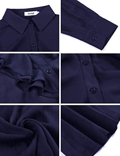 Irevial Camisas con Chorreras Mujer, Blusas Mujer Manga Larga Elegante, Camisa Mujer con Botones y Volante, Moda Regular Fit Shirt Top