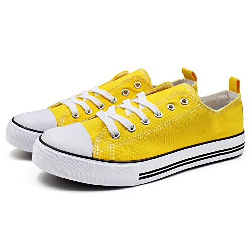 Epic Step Low Top Cap Toe Women Sneakers Tennis Canvas Shoes Casual Shoes for Women Flats- Comfortable Walking Tennis Shoes (Yellow, 7.5)