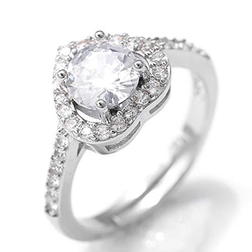 Flrora Anillo de plata para amante ajustable con circonita cúbica, anillo de compromiso, aniversario, anillo de nudillos, anillo de banda abierta, accesorio de joyería para mujeres y niñas