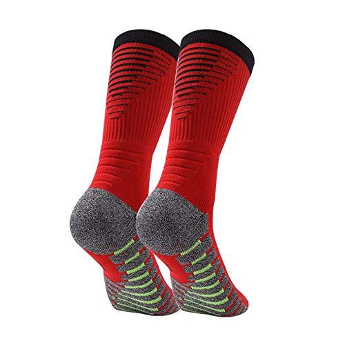Manbozix Calcetines de Hombre Calcetines Deportivos Transpirables Calcetines de Fútbol Calcetines Deportivos Antideslizantes Unisex 38-45, Control de Humedad, Rojo