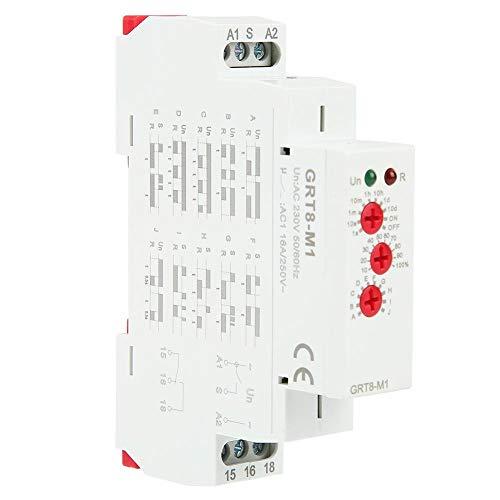 Multifunktions Zeitrelais, AC 220V GRT8-M1 Analog Einstellbare Zeitverzögerung Relais mit 10 Funktionen, Auswahl Hutschienenmontage für Treppenlichtzeitschalter, Industrielle Beleuchtungssteuerung