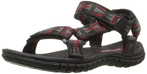 Teva Hurricane 3 Sport Sandal (Toddler/Little Kid/Big Kid), Mosaic/Black/Grey/Red-T, 4 M US Toddler