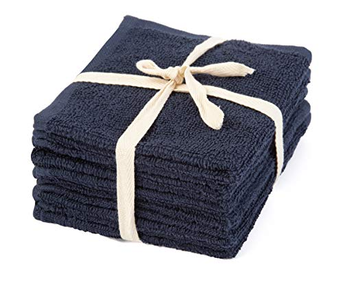 Cotton Wash Cloths - Cotton Wash Towel - Cotton Hand Towels - Terry Hand Towels Cotton - Terry Face Cloths - Cotton Wash Clothes for Face, Quick-Dry (12 X 12, Navy - Terry Cloth (Baby Towel ))