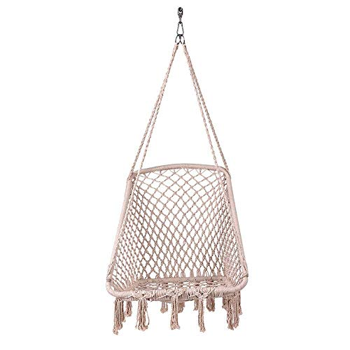 HYISHION Hammock Chair Macrame Swing, Handmade Knitted Hanging Cotton Rope Chair for Indoor/Outdoor Home Patio Deck Yard Garden Reading Leisure (Beige) SKYJIE