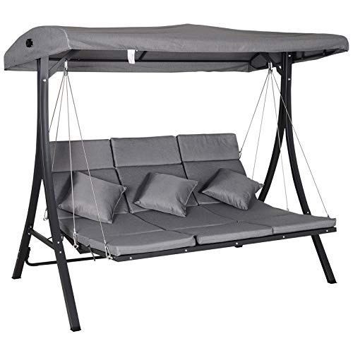 Outsunny 3 Seater Outdoor Garden Swing Chairs Chaise Lounge Padded Seat Hammock Canopy Porch Patio Bench Bed Recliner Sun Lounger - Grey