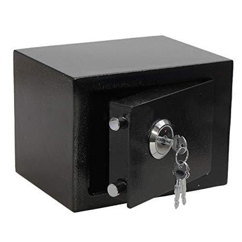 Uniquelove Caja Fuerte Profesional y Duradera de Hierro y Acero operada con Llave, Caja de Seguridad para Dinero en Efectivo para joyería de Oficina en casa, Negro