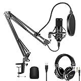 Neewer Kit Micrófono USB 192KHz / 24Bit Micrófono Condensador Cardioide Conecta y Reproduce con Auriculares con Monitor Tapa de Espuma Soporte para Brazo y Soporte de Choque para karaoke YouTube etc.