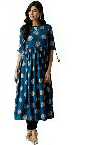 AnjuShree Choice Women Stitched Gold Printed Dark Sky Blue Cotton Anarkali Kurti Kurta (M)