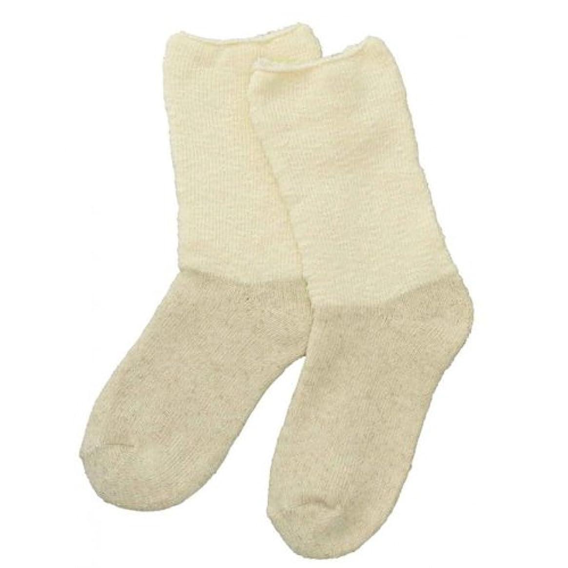 低い口頭下線Carelance(ケアランス)お風呂上りのやさしい靴下 綿麻パイルで足先さわやか 8706CA-31 クリーム