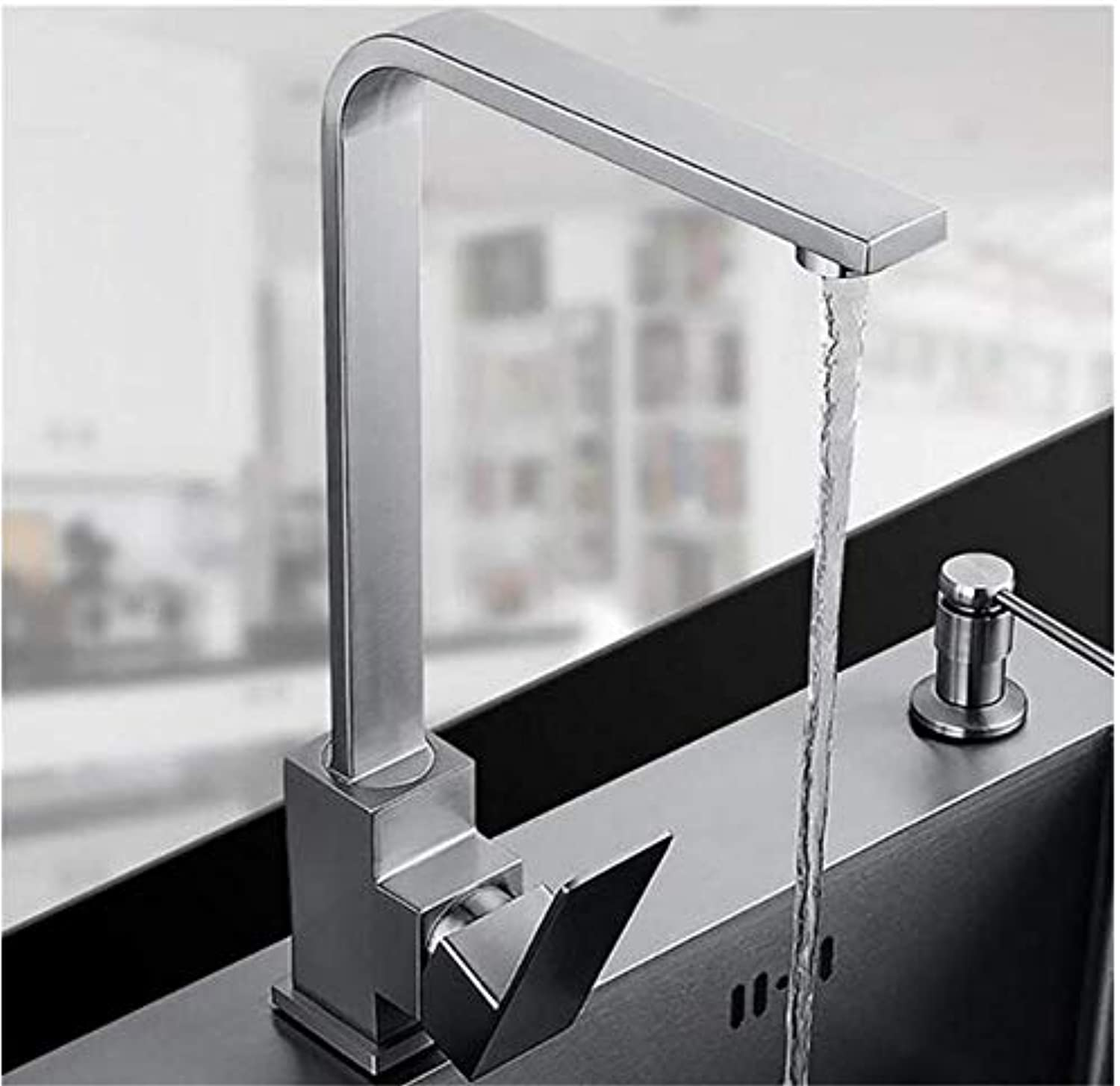 Modern Double Basin Sink Hot and Cold Water Faucet Faucet Surface Brushed Water Tap 360 Degree redation