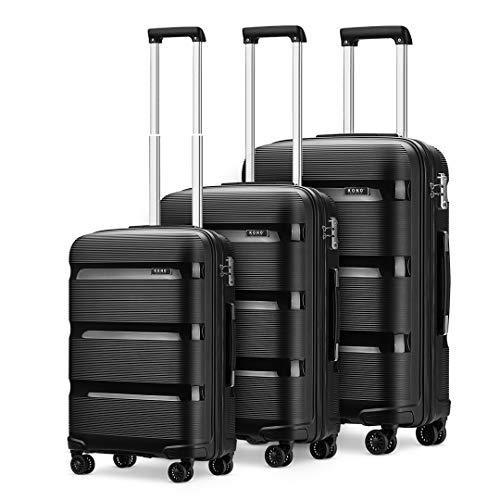 Kono Luggage Sets 3 Piece Hard Shell Travel Trolley 4 Spinner Wheels Lightweight Polypropylene Suitcase with TSA Lock (Black,56cm/65cm/76cm)