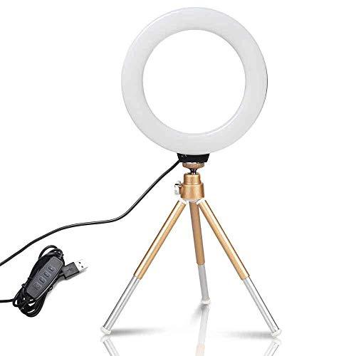 Lámpara de Selfie de Video de Video de Escritorio LED con trípode Stand USB Enchufe para Youtube Live Photo Photography Studio para Youtube Video TikTok (Color : Golden Tripod)