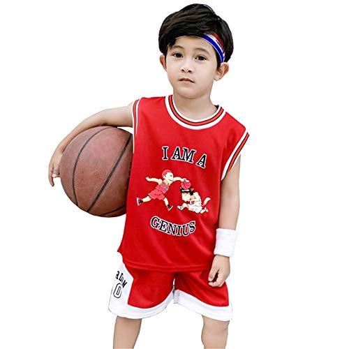 CURVEASSIST Kinder Basketball Trikots Genius # 10 Jordanien Schnelltrocknungstraining Jungen Herbstkleidung Baby Kindergarten Sommer Performance Anzug,Red-110cm