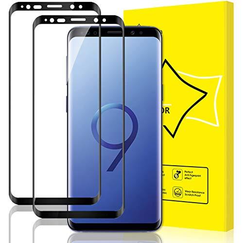 GiiYoon-2 Piezas Protector Pantalla para Samsung Galaxy S9 Cristal Templado, [Cristal Templado 3D Curvo] [Sin Burbujas] [Cobertura Completa] [9H Dureza]Alta Definicion Vidrio Templado
