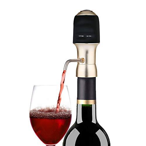 TIEMORE Aeratore per Vino Elettrico Versatore per Vino in Silicone Decanter per Vino Muto Indicatore Luminoso Design Tappo per Vino E Champagne per La Festa in Famiglia di Natale di Capodanno