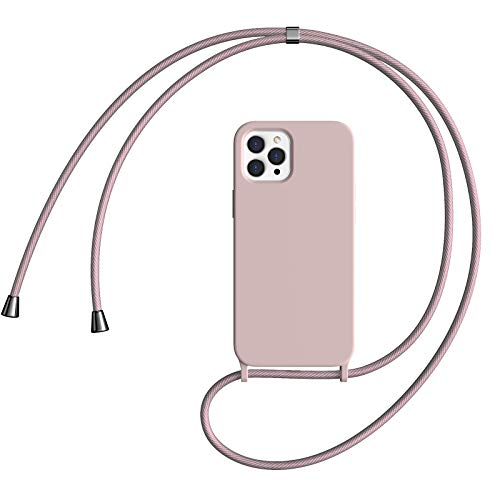 Oududianzi Handykette Handyhülle Kompatibel mit iPhone 12, Kompatibel mit iPhone 12 Pro (6.1') Hülle, Hochwertiges Silikon, mit weichem Mikrofaser-Innenfutter stoßfestes Abdeckung - Rosa