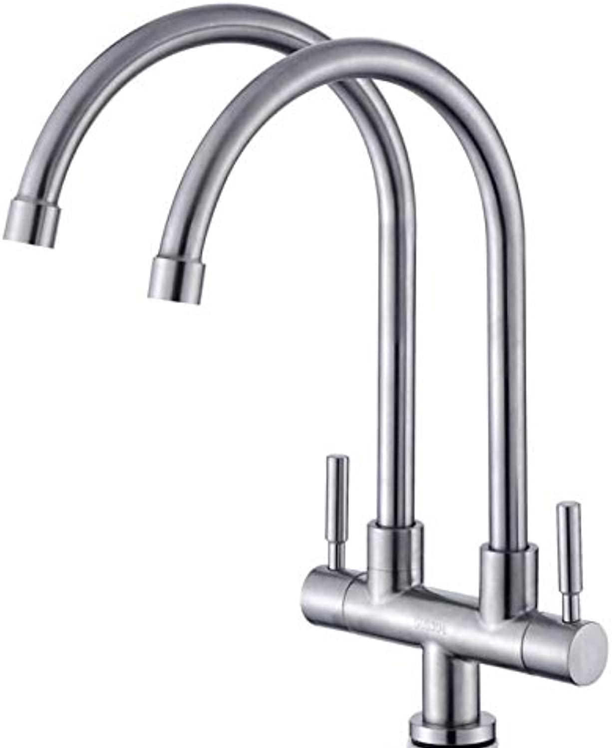 Bathroom Faucet 304 Stainless Steel Kitchen Faucet One Into Two Out Double Kitchen Single Cold Faucet Double Basin Double Single Cold
