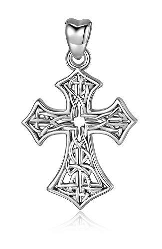 Jewelry Trends Celtic Cross Irish Weaved Open Knot Style Sterling Silver Pendant Necklace 18'