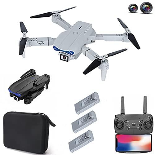 Drone E99 PRO RC Drone 4K HD Câmera dupla, WiFi FPV Dobrável Retorno Automático Altitude Hold Drone, 60 minutos de voo com 3 baterias