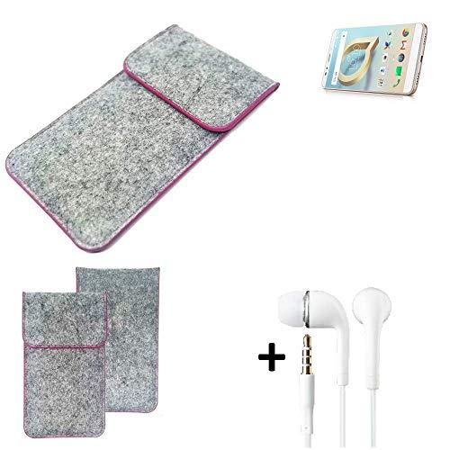 K-S-Trade Filz Schutz Hülle Für Alcatel A7 XL Schutzhülle Filztasche Pouch Tasche Hülle Sleeve Handyhülle Filzhülle Hellgrau Pinker Rand + Kopfhörer