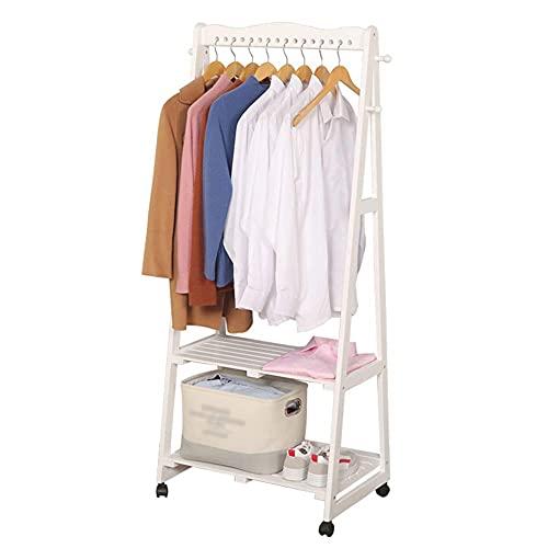 LLLKKK Perchero de madera de 2 niveles para ropa, perchero de 4 ganchos para...