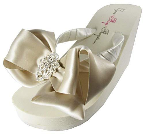 Flip Flops Oatmeal Champagne Satin Bows Bridal Wedding