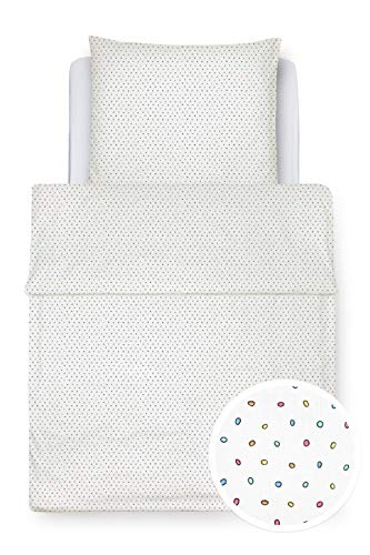 Clinotest Kinder-Bettwäschenset, bestehend aus einem Kissenbezug 40x60 cm und einem Bettbezug 100x135 cm, Verschiedene Dessins (Bunte Punkte, 40x60 cm und 100x135 cm)
