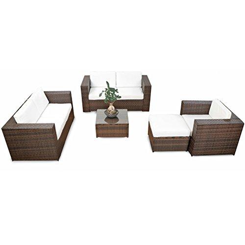 SSITG Salon de jardin en polyrotin avec tabouret, table, fauteuil, canapé