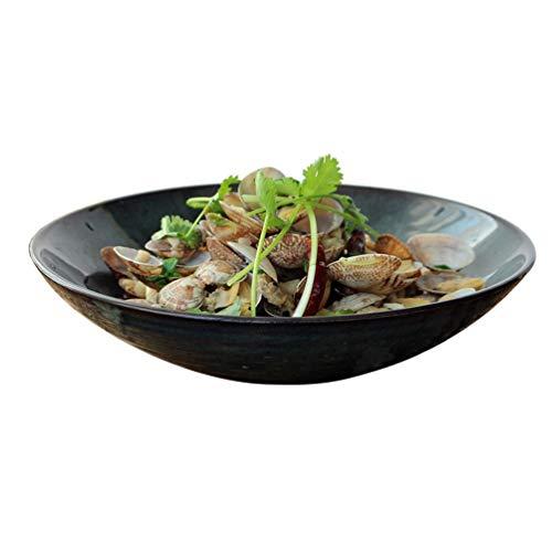 HaiLI Tableware, Creative Ceramics Bol vert foncé Bol à salade de fruits Past Past Western Plat profond Bol Bol à soupe Bol à nouilles froides Grand bol à bol ouvert