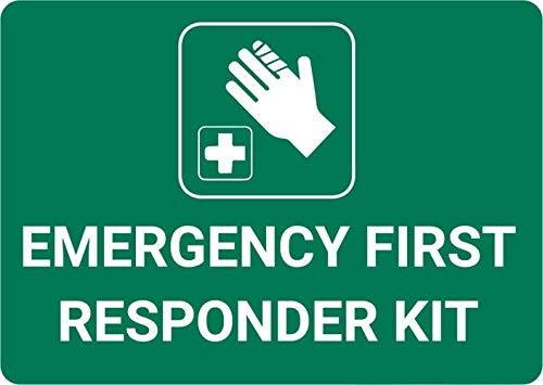 Mesllings Safety Warning Metal Sign Emergency First Responder Kit with Icon Landscape 12'x18'