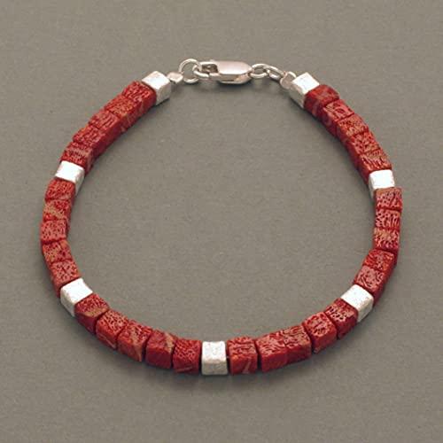 Bracelet corail mousse, cube, argent