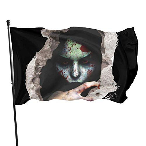 jhin Dekorative Fahnen Scary Halloween Wall 3D Banshee Vampire Themed Welcome Party Outdoor Outside Decorations Ornament Picks Home Garden Decor 3 X 5 Ft