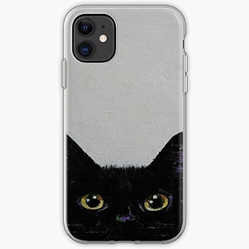 Estuches para teléfono Puro y Claro a la Moda Schwarze Chat Negro Katze Cat Abstract Gato Black Halloween Noir TPU Suave para iPhone 12/11 Pro MAX 12 Mini SE X/XS MAX XR 8 7 6 10s Plus Case