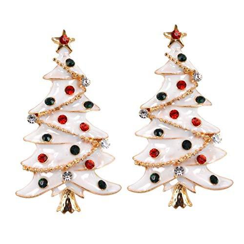WWLIN 2 Piezas Broche de Navidad broches de Diamantes de imitación de Colores Blanco árbol de Navidad broches Regalo para Mujeres niñas señoras