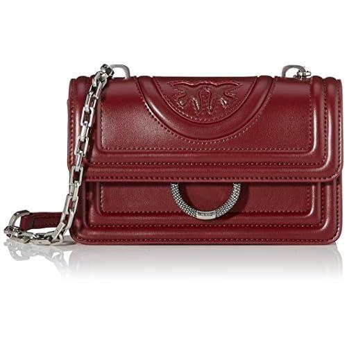 Pinko Mini Love New Monogram, Borsa a Tracolla Donna, Rosso (Rosso Porto), 6x12.8x20.8 cm (W x H x L)
