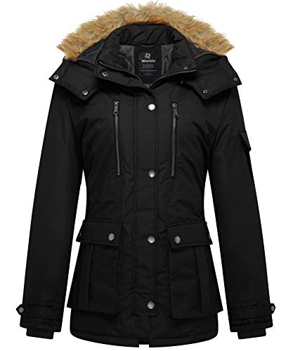 Wantdo Womens Quilted Thickened Parka Coat with Removable Fur Hood Black X-Large
