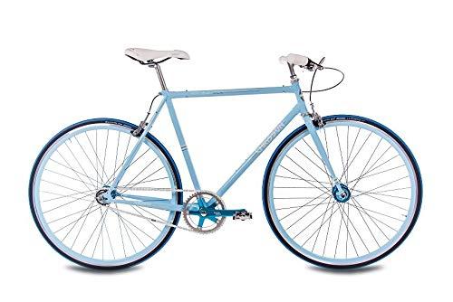 CHRISSON 28 Zoll Herren Vintage Rennrad - FGS CrMo Gent blau 59 cm - Old School Herrenfahrrad mit 2 Gang Kick Shift Schaltung von Sturmey Archer, Retro Cityfahrrad für Männer mit Rücktrittschaltung