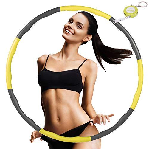 FUNNY HOUSE Hula Hoop Reifen zur Gewichtsreduktion, Einstellbar Breit 75–95 cm Reifen Schaumstoff, 8 Segmente Abnehmbarer Hula Hoop (Gelb)