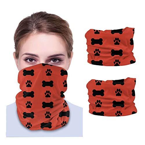Nother Pañuelo multifuncional con estampado de huesos de perro y huellas, para hombres y mujeres, diadema, bufanda, polaina para el cuello, pasamontañas